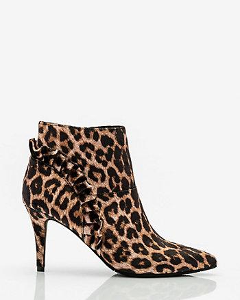 Leopard Print Velvet Ruffle Ankle Boot