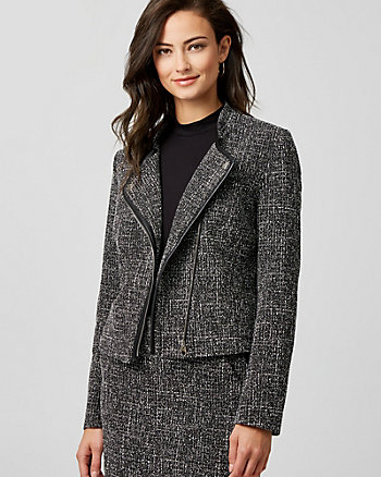 Tweed Lapel Fitted Blazer