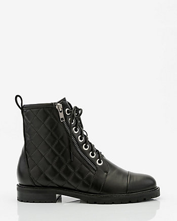 Quilted Lug Sole Combat Boot
