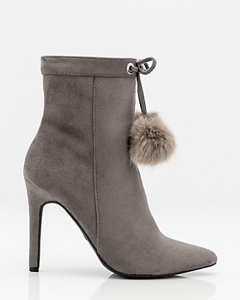 Pointy Toe Pom-Pom Ankle Boot