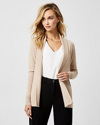 Knit Shawl Collar Open-Front Cardigan