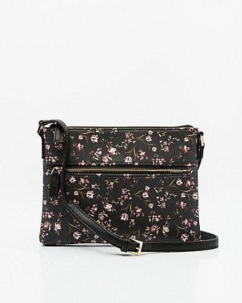 Floral Print Leather-Like Crossbody Bag