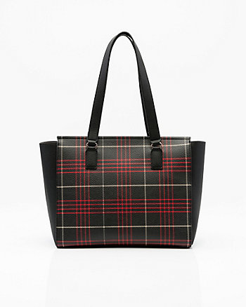 Check Print Leather-Like Tote Bag