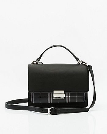 Check Print Leather-Like Flapover Bag