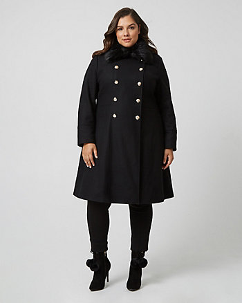 Melton Wool Fit & Flare Coat with Faux Fur Collar