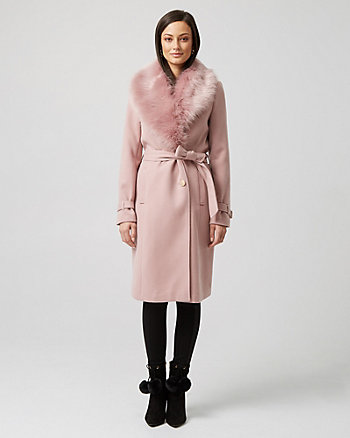Cashmere-Like Coat with Faux Fur Collar