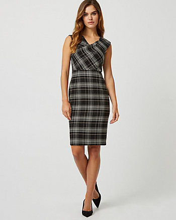 Check Print Double Weave Sheath dress