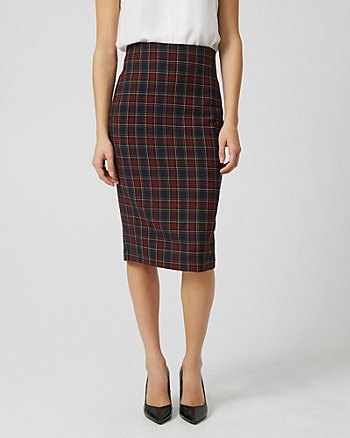 Check Print High Waist Pencil Skirt