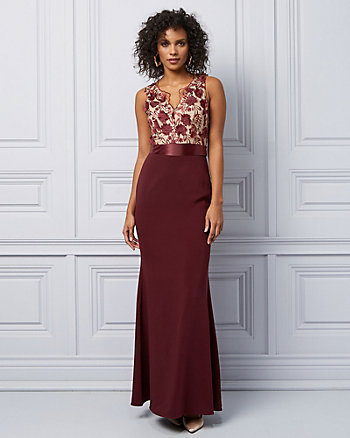 3D Floral Velvet V-Neck Gown