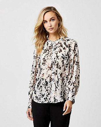 Abstract Print Chiffon Button-Front Blouse