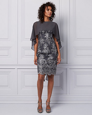 Sequin Embroidered Illusion Cape Dress