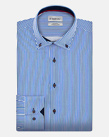 Stripe Cotton Poplin Tailored Shirt