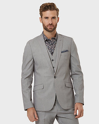 Tonal Cotton Blend Slim Fit Blazer