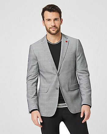 Waffle Knit Slim Fit Stretch Blazer
