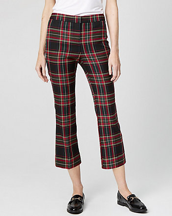Check Print Kick Flare Cropped Trouser