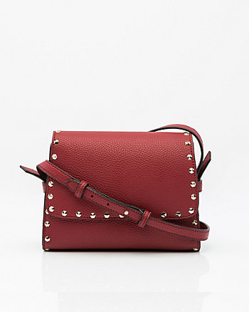 Studded Leather-Like Crossbody Bag