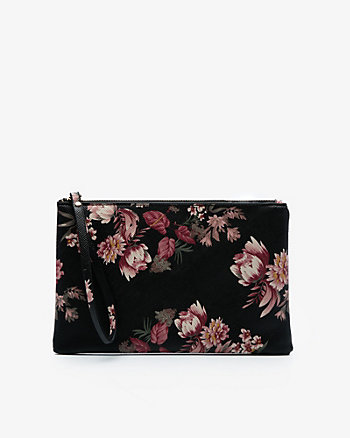 Floral Print Leather-Like Cosmetic Pouch