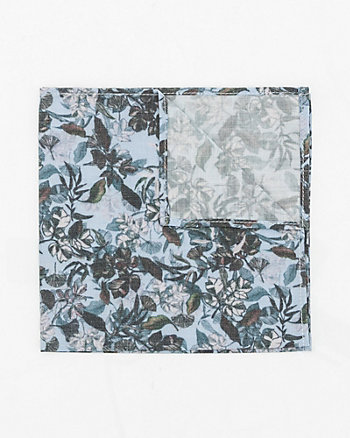 Floral Print Cotton Blend Pocket Square