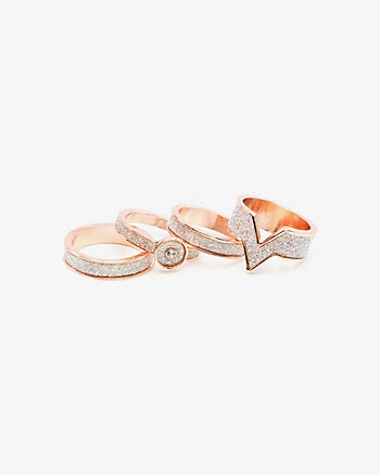 Set of Glitter Stackable Rings