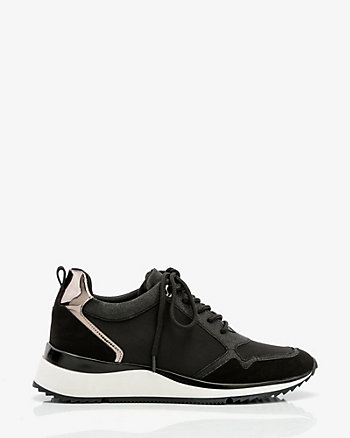 Satin & Glitter Lace-Up Sneakers