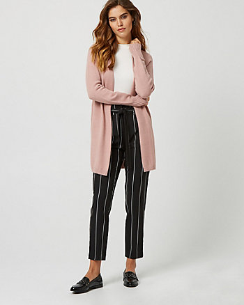 Viscose Blend Open-Front Sweater Coat