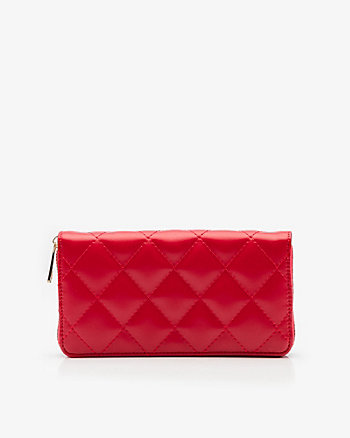 Zip Around Leather-Like Quilted Wallet