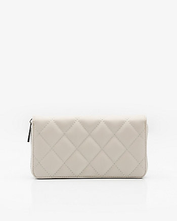 Zip Around Faux Leather Quilted Wallet
