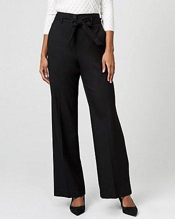 Viscose Blend Wide Leg Paper Bag Pant
