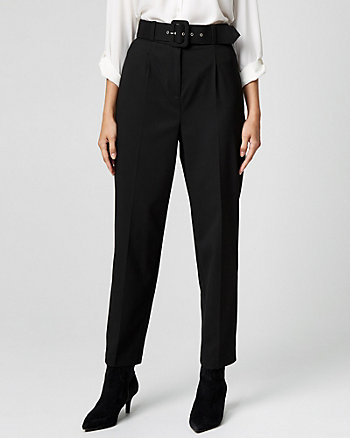 Belted Viscose Blend Tapered Leg Pant