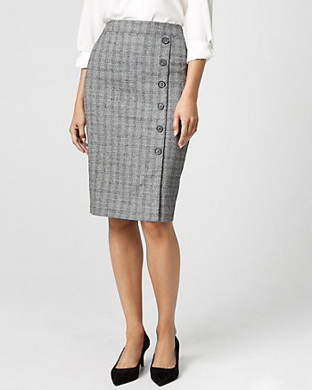 Glen Check Viscose Blend Pencil Skirt