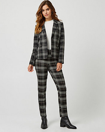 Check Print Double Weave Slim Leg Pant