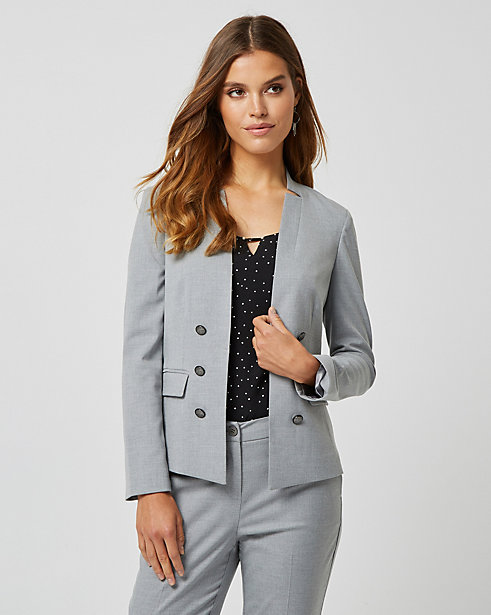 Viscose Blend Inverted Collar Blazer STYLE: 367839