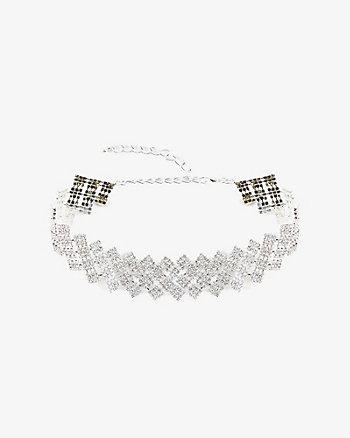 Square Gem Choker Necklace