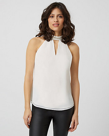 Embellished Halter Neck Sleeveless Blouse