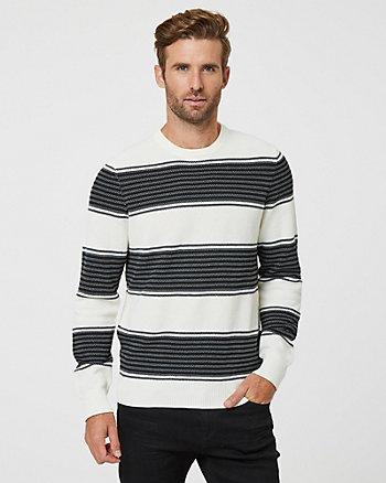 Stripe Print Knit Crew Neck Sweater