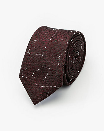 Star Print Cotton Blend Tie