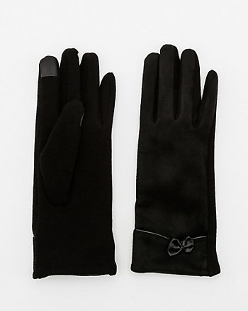 Cotton Blend Bow Touchscreen Gloves