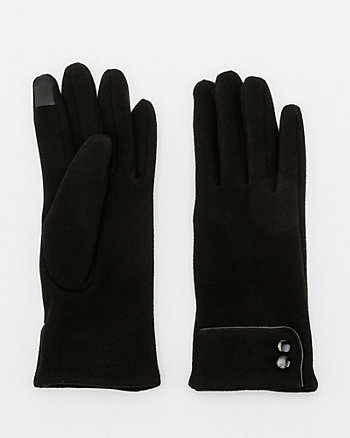 Cotton Blend Button Trim Touchscreen Gloves