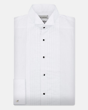 Cotton Blend Tailored Tuxedo Shirt