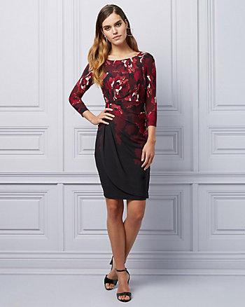 Floral Print Knit Wrap Cocktail Dress