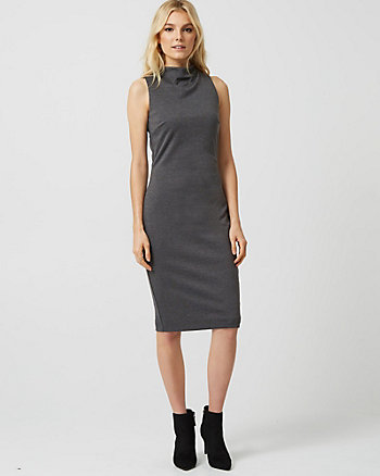 Ponte Mock Neck Sheath Dress