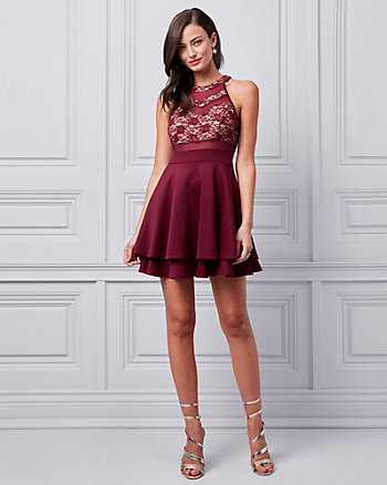 Lace & Scuba Knit Halter Cocktail Dress