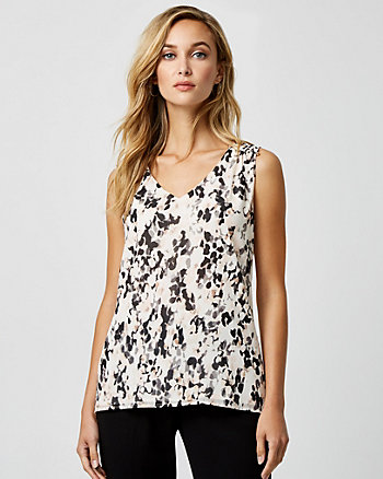 Floral Print Chiffon & Knit V-Neck Top