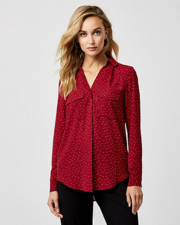 Polka Dot Crêpe De Chine V-Neck Blouse