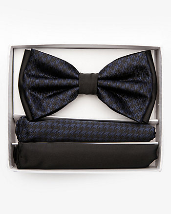 Houndstooth Bow Tie & Pocket Square Set