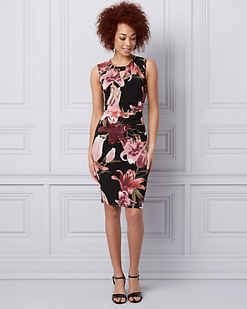 Floral Print Knit Cocktail Dress