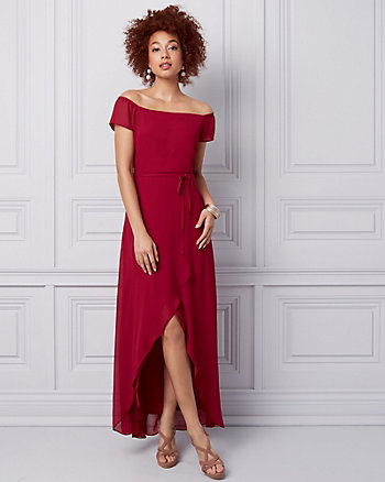 Chiffon Off-the-Shoulder Gown