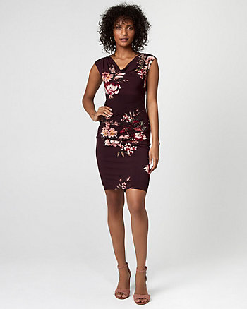 Floral Print Knit Cowl Neck Dress