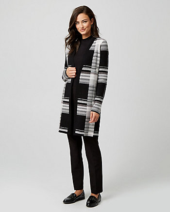 Jacquard Print Open Front Sweater Coat