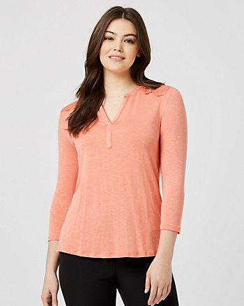 Jersey & Lace 3/4 Sleeve Henley  Top